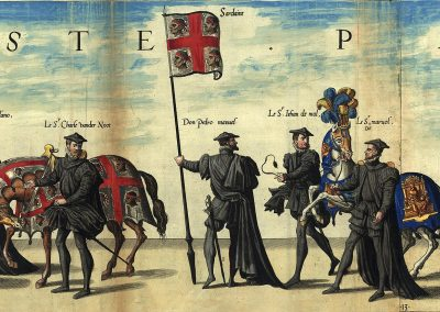 Flaga Królestwa Sardynii na pogrzebie cesarza Karola V