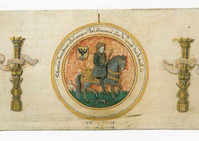 Cesarz Karol V i herby jego królestw włoskich i iberyjskich
