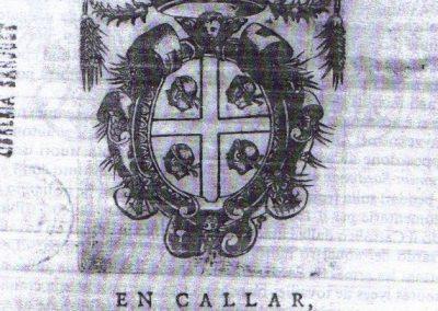 1590 F. Guarnerio, Capitols de cort del Stament Militar de Sardenya, Cagliari, pierwsze zarejestrowane zastosowania symbolu na Sardynii.