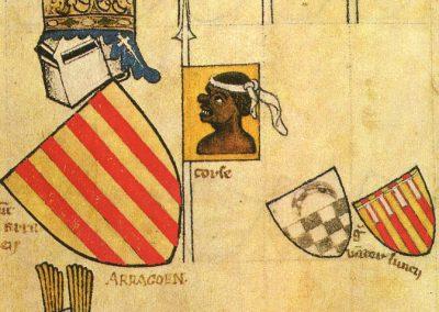 Pierwsze świadectwo flagi Sardynii. Rękopis z Gelre, druga połowa XIV wieku, Folio 62r